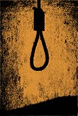 stock photo of hangman  - A dark sepia style image of a hangman noose knot - JPG