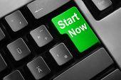 Keyboard Green Button Start Now