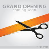 Shop Grand Opening - Cutting Orange Ribbon