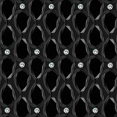 Black Background With Gemstones Seamless Pattern.