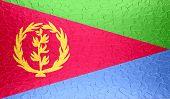 picture of eritrea  - Closeup of Eritrea flag on metallic metal texture - JPG