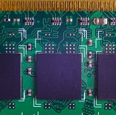 Closeup of RAM Circuit board with processor