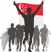 Athlete with the Singapore flag at the finish