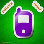 Mobile Telecommunications Technology Icon Sign. Symbol Chic Colored Sticky Label On Green Background