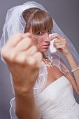 Frustrated Bride Showing Her Fist