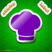 Chef Hat Icon Sign. Symbol Chic Colored Sticky Label On Green Background. Vector