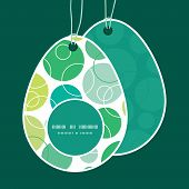 Vector abstract green circles Easter egg shaped tags set template