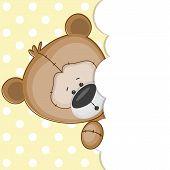 foto of peeking  - Teddy bear peeking out from behind the clouds - JPG