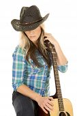 Cowgirl With Guitar In Blue Look Down Close