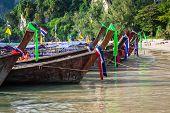 Traditional Thai Boat On Railay Beach