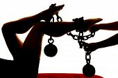 Silhouette Womans Legs Ball And Chain Hands On Chain