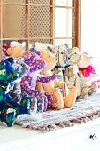 Many Tilda Textile Teddy Bear Toys In Workshop.