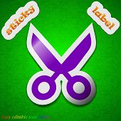 Scissors Hairdresser Icon Sign. Symbol Chic Colored Sticky Label On Green Background. Vector