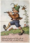 Retro Postcard Printed In Germany Shows Boy Playing The Flute. Text In German: I Run, I Jump For You