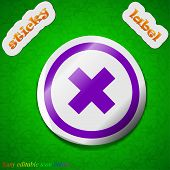 Cancel Icon Sign. Symbol Chic Colored Sticky Label On Green Background. Vector