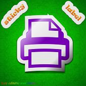 Print Icon Sign. Symbol Chic Colored Sticky Label On Green Background. Vector