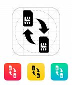 Replacement and exchange SIM cards icon.