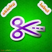 Scissors With Cut Dash Dotted Line Icon Sign. Symbol Chic Colored Sticky Label On Green Background.