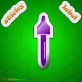 Pipette, Medicine Dropper Icon Sign. Symbol Chic Colored Sticky Label On Green Background. Vector