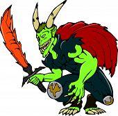 Demon Wield Fiery Sword Cartoon