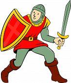 Medieval Knight Shield Sword Standing Cartoon