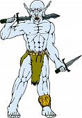 Orc Warrior Sword Dagger Cartoon