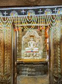 stock photo of jain  - Jainism God Statue at Jain Temple in Jaisalmer Fort Rajasthan India - JPG