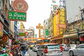 Bangkok, Thailand - February 1, 2015: Street Scene In Chinatown,bangkok