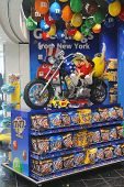 M&M candy mascot puppies riding a custom motorbike at M&M Store