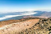 Panorama landscape and clouds from the volcano Teide