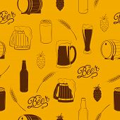 Vector seamless pattern with beer icons.
