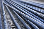 foto of reinforcing  - Steel rods used to reinforce concrete in construction - JPG