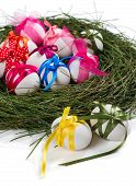 Easter Composition With Eggs, Nest And Ribbons