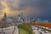 image of willy  - Image of Chicago downtown with dramatic sky in autumn - JPG