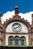 Beautiful Old Art Nouveau Building With Clocks In Budapest, Hungary