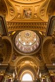 The Golden Dome And Interior Inside The Church In Budapest