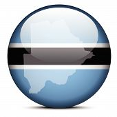 Map On Flag Button Of Republic Of Botswana