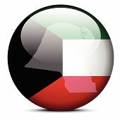 Map On Flag Button Of State Of Kuwait