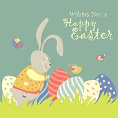image of easter eggs bunny  - Easter bunny and easter egg - JPG