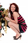 Christmas Tree Young Happy Woman