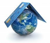 Credit Cards with Globe (clipping path included)
