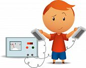 foto of defibrillator  - Vector illustration of smiling tricky boy with medical defibrillator - JPG