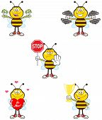 Bee Cartoon Mascot Character Different Interactive Poses 2. Collection Set