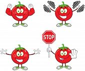 Red Tomato Cartoon Mascot Character Different Interactive Poses 3. Collection Set