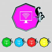 stock photo of fi  - wi fi and monitor sign icon - JPG