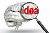 Idea Word On Magnifying Glass And Human Brain