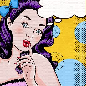 picture of invitation  - Pop Art illustration of woman with the speech bubble - JPG