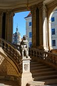foto of pilaster  - View toward stairs and arches of Glockenspiel  - JPG