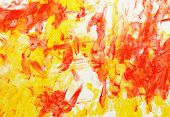 image of finger-painting  - Picture in yellow and red colors made by children - JPG