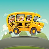 stock photo of bus driver  - School bus driving with kids - JPG